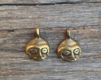 Small Brass Mask - Face Charms / Pendants / Dangles - 1/2 Inch - 15 mm - Set of 2