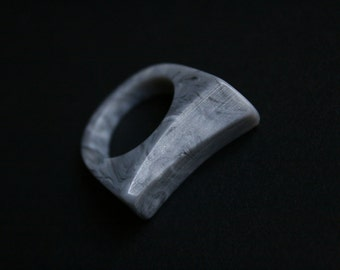 Statement ring in size US 8 handmade from shades of grey resin. Made in Australia