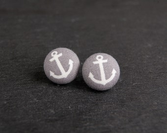 Fabric Button Earrings, Anchor Earrings, Anchor Fabric Button Earrings