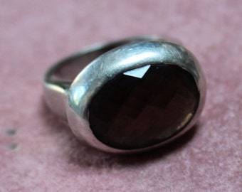 Smokey Quartz And Sterling Silver East-West Vintage Ring/Faceted Smokey Quartz and Sterling Ring