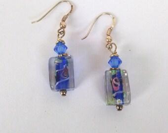 Blue Lampwork Dangle Earrings.  Pink Flowers with Sterling Silver Hooks, Handmade Art Glass Earrings, Drop Dangle Earrings