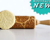 KALEIDOSCOPE SMALL Embossing rolling pin, laser engraved rolling pin