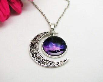 Galaxy Moon Necklace - Purple Necklace - Purple Nebula Necklace - Boho Crystal Necklace - Moon Necklace - Moon Galaxy Necklace - Moon Galaxy