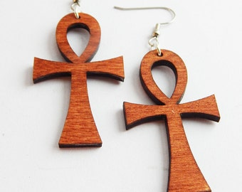 Natural Wood Earrings Ankh Ear Jewelry Symbol of life Earrings Wood Jewelry Egyptian Earrings Dangle Earrings African Jewelry Afrocentric