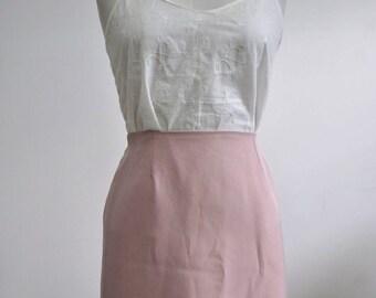 Scalloped Hem Crepe High Waist Pencil Skirt blush pink off white S