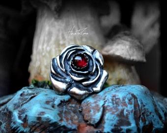 Vintage rose silver ring - Size 7 US - Garnet rose silver ring - Boho ring - Red love rose ring - stamping band - Romantic Silver ring