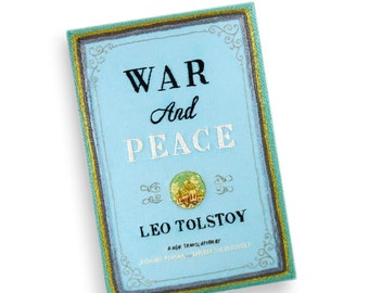 Book Clutch Bag - War and Peace by Leo Tolstoy. Handmade embroidered book purse. Felt appliquè clutch book. Book wallet