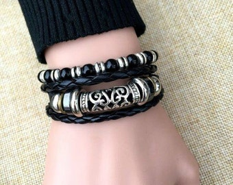 Leather Bracelet Woman Adjustable Two Piece Fashion Set with Charms Braclet CH-32