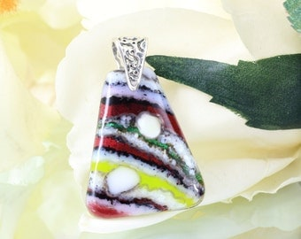 Lavender, Red and Yellow Fused Glass Pendant - Glass Jewellery - Necklace - Fused Glass Jewelry - JBT299