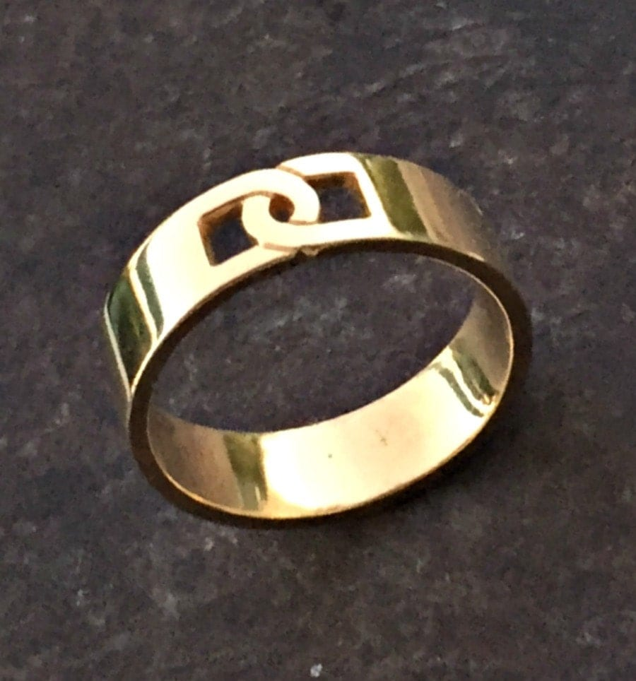 Gold band men gold ring mens wedding band mens engagement for Wedding gold rings for men