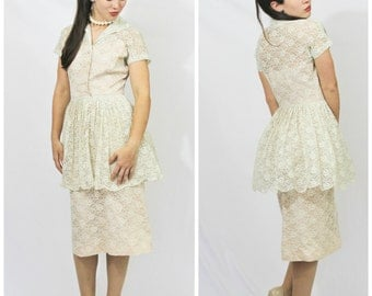 Vintage 1940's FERMAN O'GRADY Lace Illusion Peplum Wiggle Shell Pink Cream Day Dress