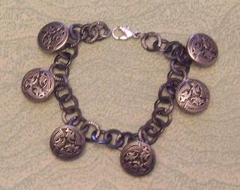 Charm bracelet with vintage leaf design buttons handcrafted