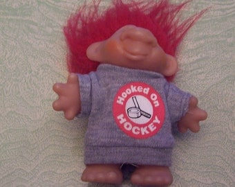 1986 Dam Hooked on Hockey troll red hair