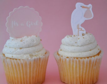 Stork Cupcake Topper,eddible baby shower cupcake topper,  Stork Topper, Edible Cupcake