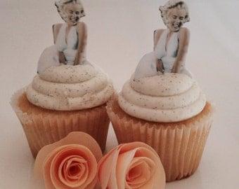 Marilyn cupcake topoper, Marilyn Monroe cookie, Edible image,  cupcake topper,