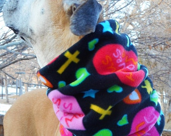 Jesus Loves Me scarf, neck warmer snood gaiter; Christian scarves w/ hearts for dogs & people