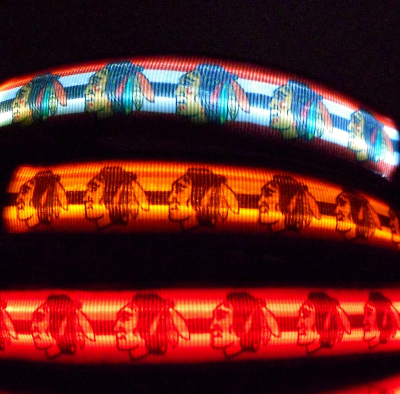 chicago blackhawks led light up dog collar lighted by bellataz. Black Bedroom Furniture Sets. Home Design Ideas