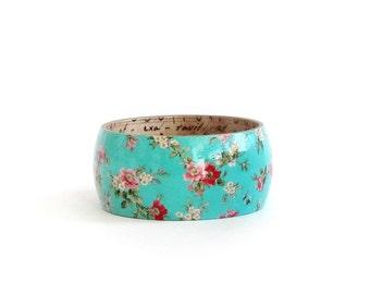 Turquoise Wood Bracelet, Large Size Bracelet, Hand Paint Wooden Bracelet, Cherry Blossom Floral Bangle, Wood Jewelry, Sakura Jewelry