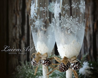 Rustic Wedding Champagne Glasses Winter Wedding Christmas Wedding Holiday Wedding Champagne Flutes