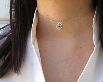 Eternity Choker, Evil Eye Choker, 925 Sterling Silver, Dainty Choker Necklace, Short Necklace, Hammered Circle Choker, Gift Under 25