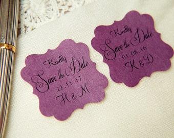 100 Plum Purple Printed Save The Date seals. Custom printed Wedding stickers. personalised Pearlised Envelope seals. Wedding favours