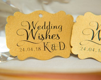 Custom Wishing Tree Tags. Wedding Wishes with Initials and date. Old Gold Wedding guest cards. Rectangle printed favour tags. Pearlised card