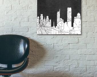 Sacramento City Skyline with Black and White vintage map, chalkboard print ,Modern Home/Office Decor,No 727