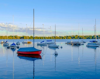 Fine Art Photography, Minneapolis Art, Landscape Photography, Lake Decor, Nautical Decor, Wall Art, 8 x 12, Sailboat Print, Blue, Red, Aqua