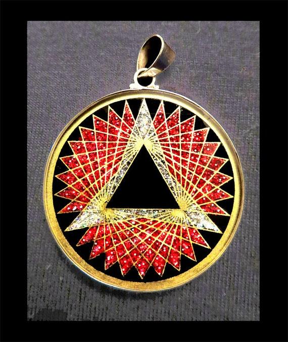 trinity sacred geometry pendantblack tourmaline gemstone 925
