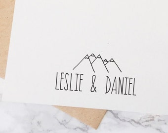 Custom Wedding Stamp, Outdoor Wedding Stamp, Stamp for a Mountain Wedding, Save the Date Stamp,Couple Stamp, Name Stamp, Stamp Style No. 62W