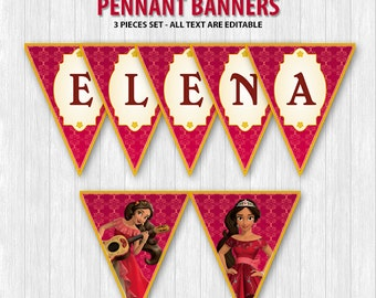 Elena of Avalor Pennant Banners