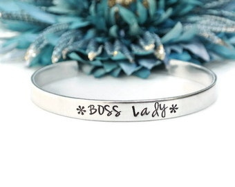 Boss Lady Hand Stamped Cuff Bracelet | Hand Stamped Jewelry | Aluminum Jewelry | Girl Boss | Gift For Boss | Hustle Like A Boss | Boss Babe