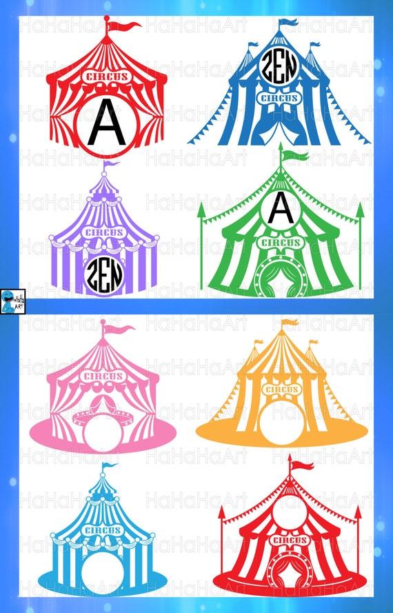 Circle Circus Tent Monogram Cutting Files Svg Png Jpg Eps