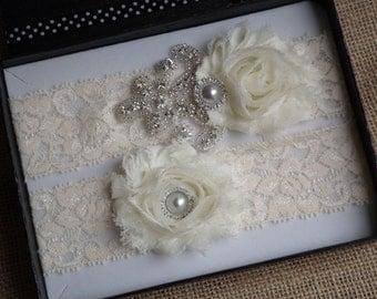 Wedding Bridal Garter - Ivory Lace Garter Set, Rhinestone Garter Set, Vintage Garter Set, Toss Garter, Keepsake Garter