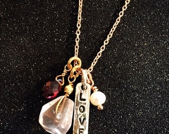 """18"""" Rose Gold and Sterling Love Delicate Charm Necklace"""