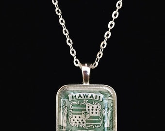 Antique Hawaiian Postage Stamp Necklace