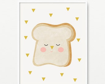Toast nursery giclee print- Kids room decor- Wall art for children- (A-558)