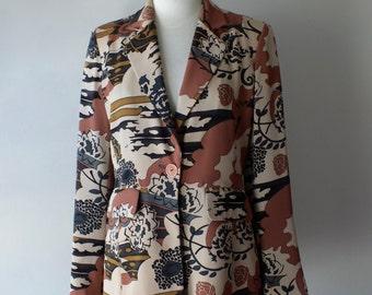 Vintage abstract print jacket + 90s rose print blazer