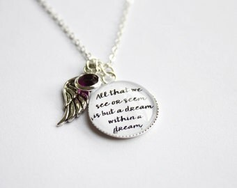 Edgar Allan Poe quote necklace. Nevermore. The Raven. Dream within a dream. Victorian. Personalized