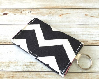 Black Chevron Print Credit Card Wallet, Fabric Wallet, Cash Wallet, Business Card Holder, Keychain Wallet, Velcro Wallet, Gift Card Holder