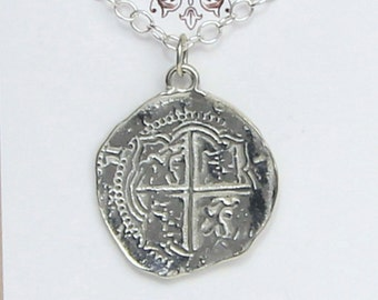 Pieces of Eight Coin Necklace-Pewter Replica of Spanish Coin-Pirates of Penzance-Hook-Peter Pan-Pirates of the Caribbean- Shipwreck Treasure