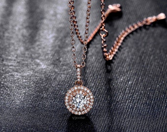 Rose Gold  Necklace - Cubic Zirconia Necklace - Halo Necklace - Round Cut Necklace - Drop Necklace - Wedding Rose Gold - CZ - AN0229