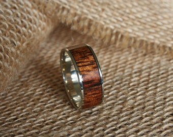 Mens Wooden Wedding Band 14k White Gold Ring With Cross Grain Hawaiian Koa Wood Inlay