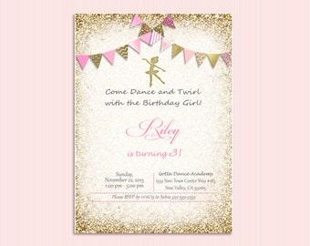 Pink and gold Ballerina invitation, ballet invitation, bunting.  Ballerina Birthday, bridal shower, baby shower. Recital invitation, ballet