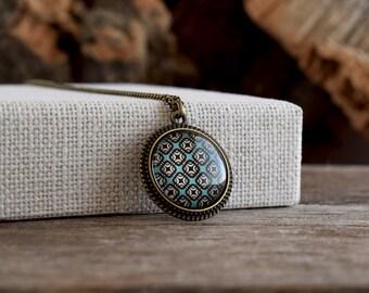 Tiny blue pendant necklace, Geometric blue necklace, Squares pattern glass dome necklace, Retro geometric jewelry, Teal blue jewelry GJ 079