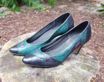 Vintage 1980s Black and Green Heels / Premis / Size 6