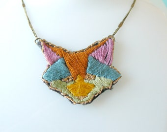 embroidered necklace hand imaginary Fox