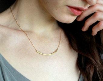 Gold Bar Necklace Minimalist Necklace minimal jewelry  simple gold necklace  layering necklace minimalism elegant necklace brass necklace