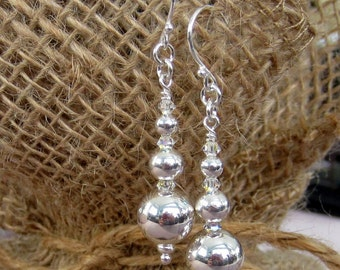 Sterling silver bead & Swarovski crystal earrings