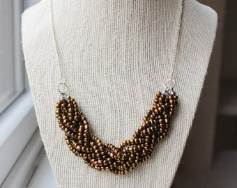 Bronze Statement Necklace with Silver Chain, Bronze Braided Bead Necklace, Bronze Multistrand Necklace, Silver Chain